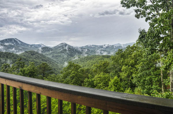 Awesome mountain view from the deck of Cherokee Sunset Log Cabin.