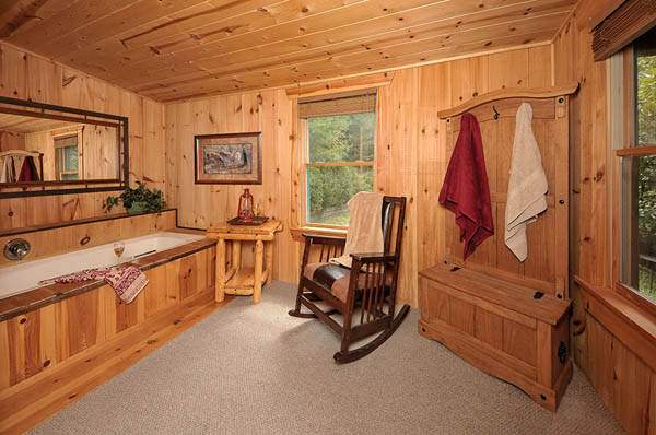 photo above large 2 bedroom cabin with double master suites and 2 hot
